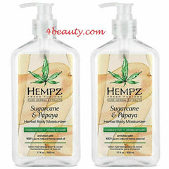 Hempz Herbal Body Moisturizer Sugarcane & Papaya Lotion 17 Ounce (Pack of 2)