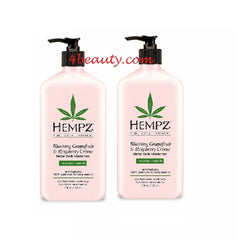 Hempz Blushing Grapefruit Raspberry Creme Herbal Body Lotion 17oz (pack of 2)
