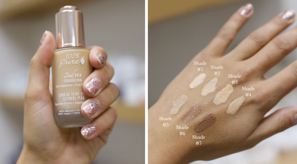 100 pure 2nd skin foundation swatches