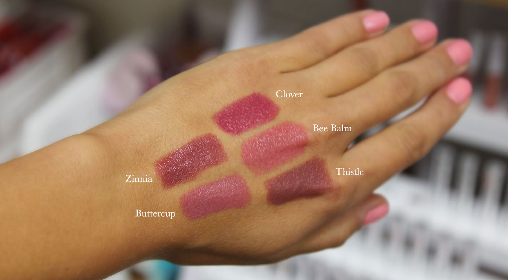 100% pure fruit pigmented lipstick swatches