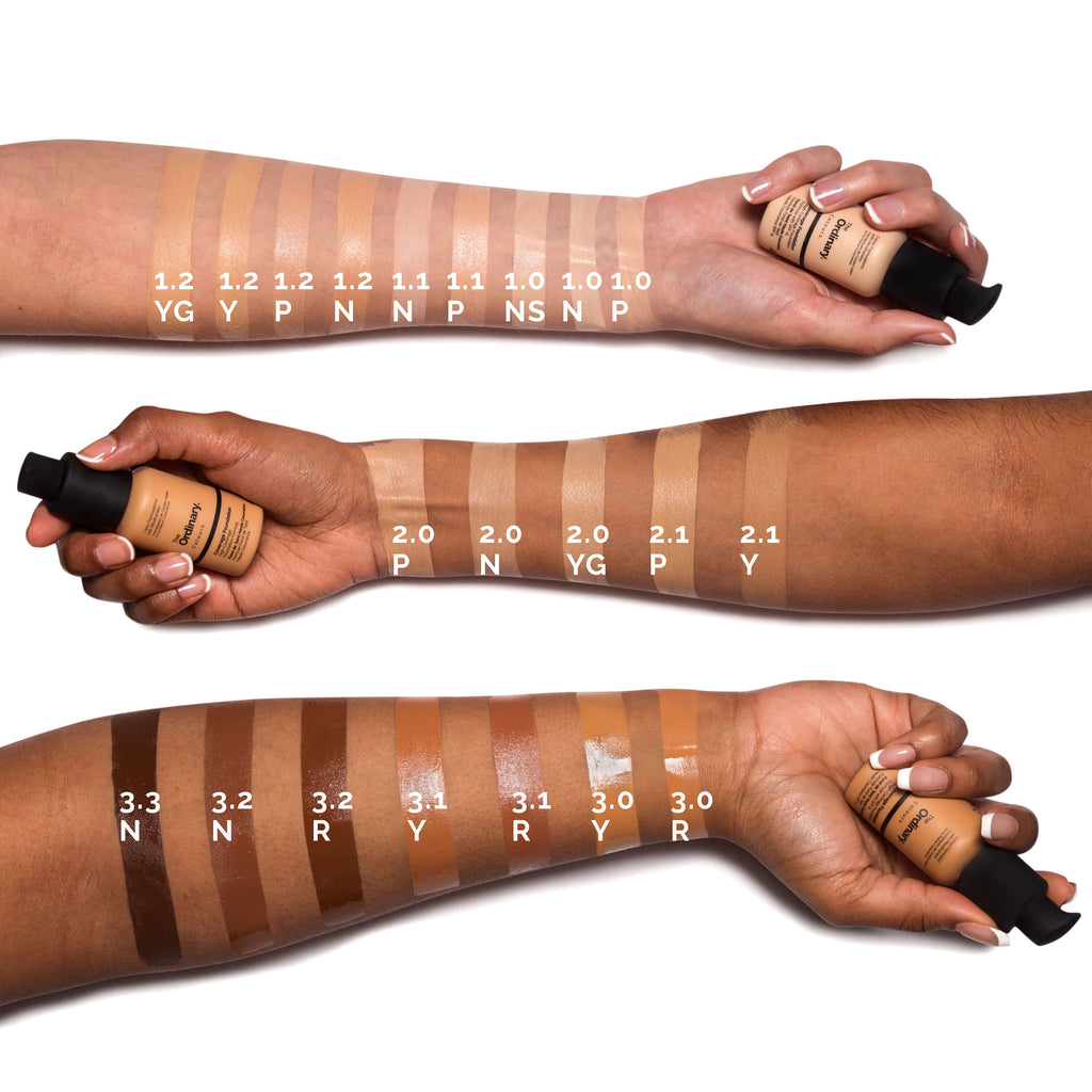 the ordinary foundation swatches