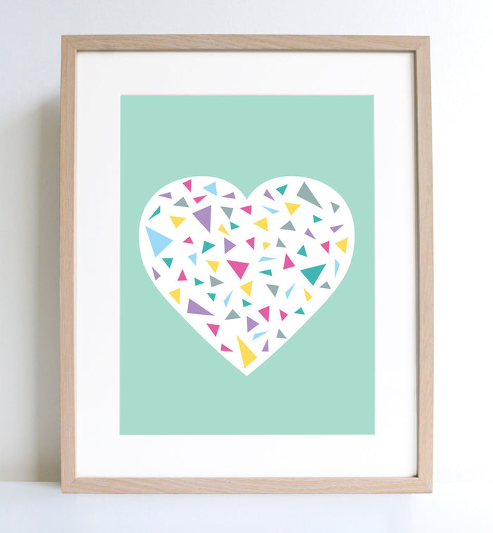 Minty Heart Print A4