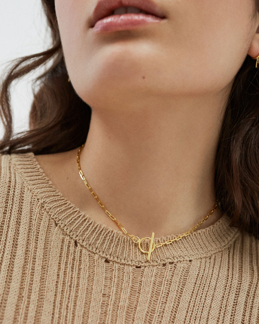 Chain Line Necklace Gold
