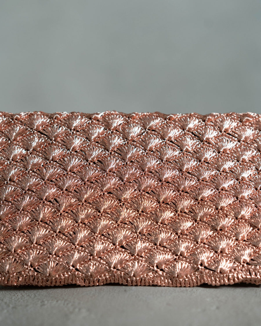 CLUTCH IN SEASHELL WEAVE | Rose Gold