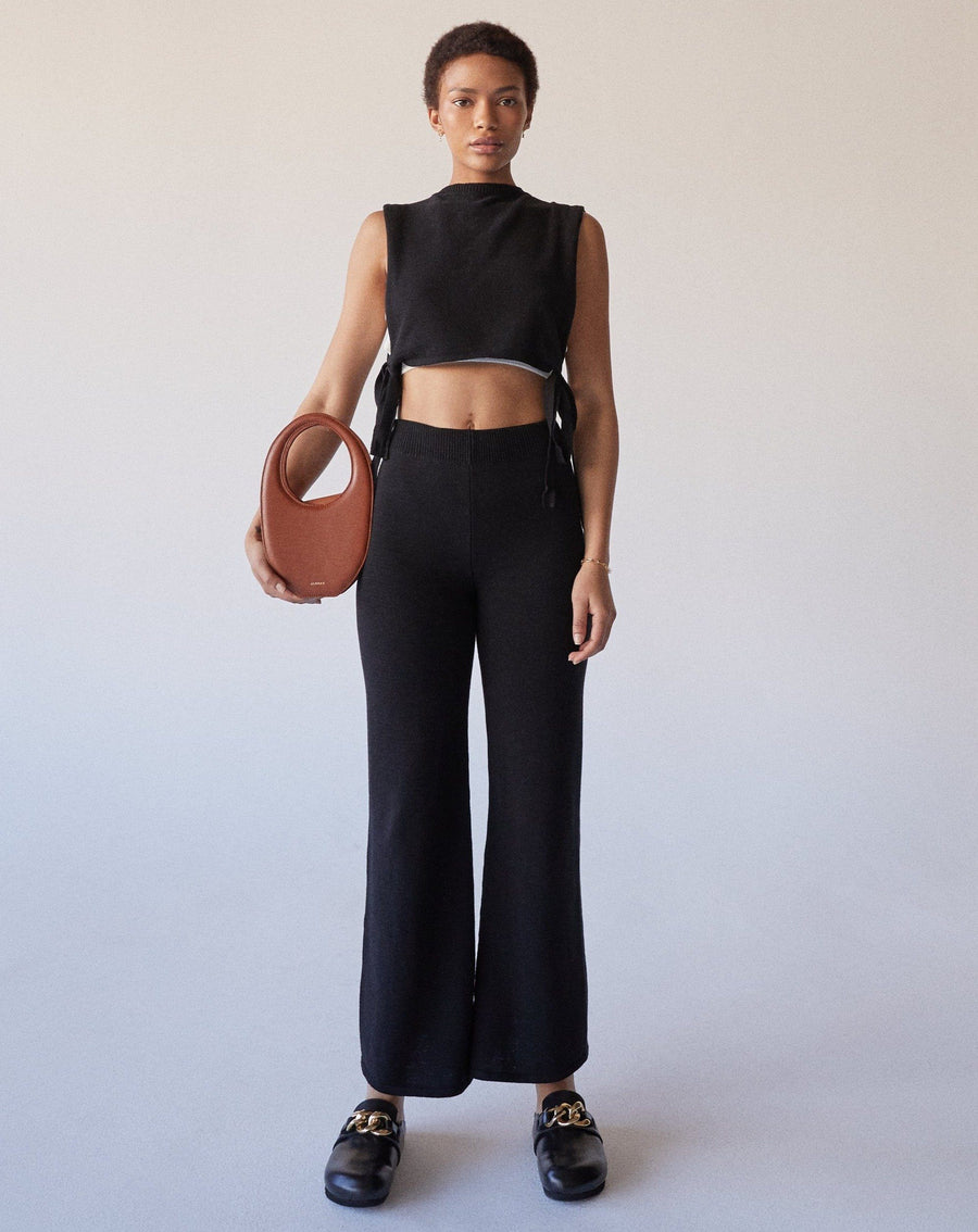 Easy Wide Knit Pants Black