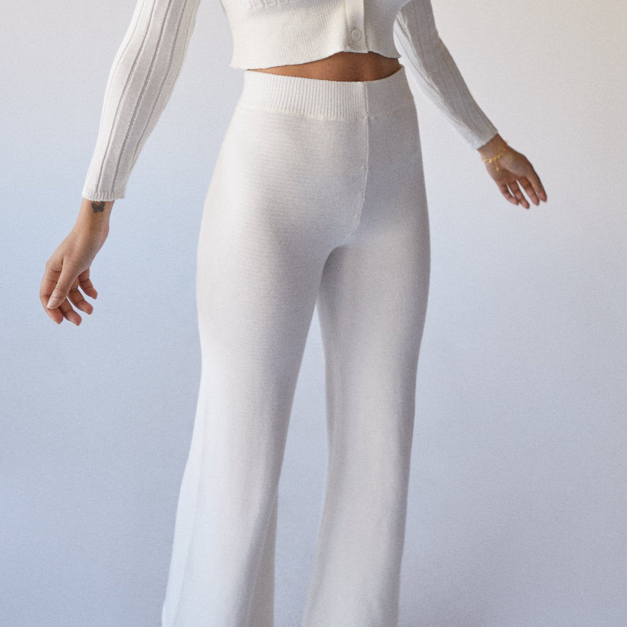 Easy Wide Knit Pants Ivory