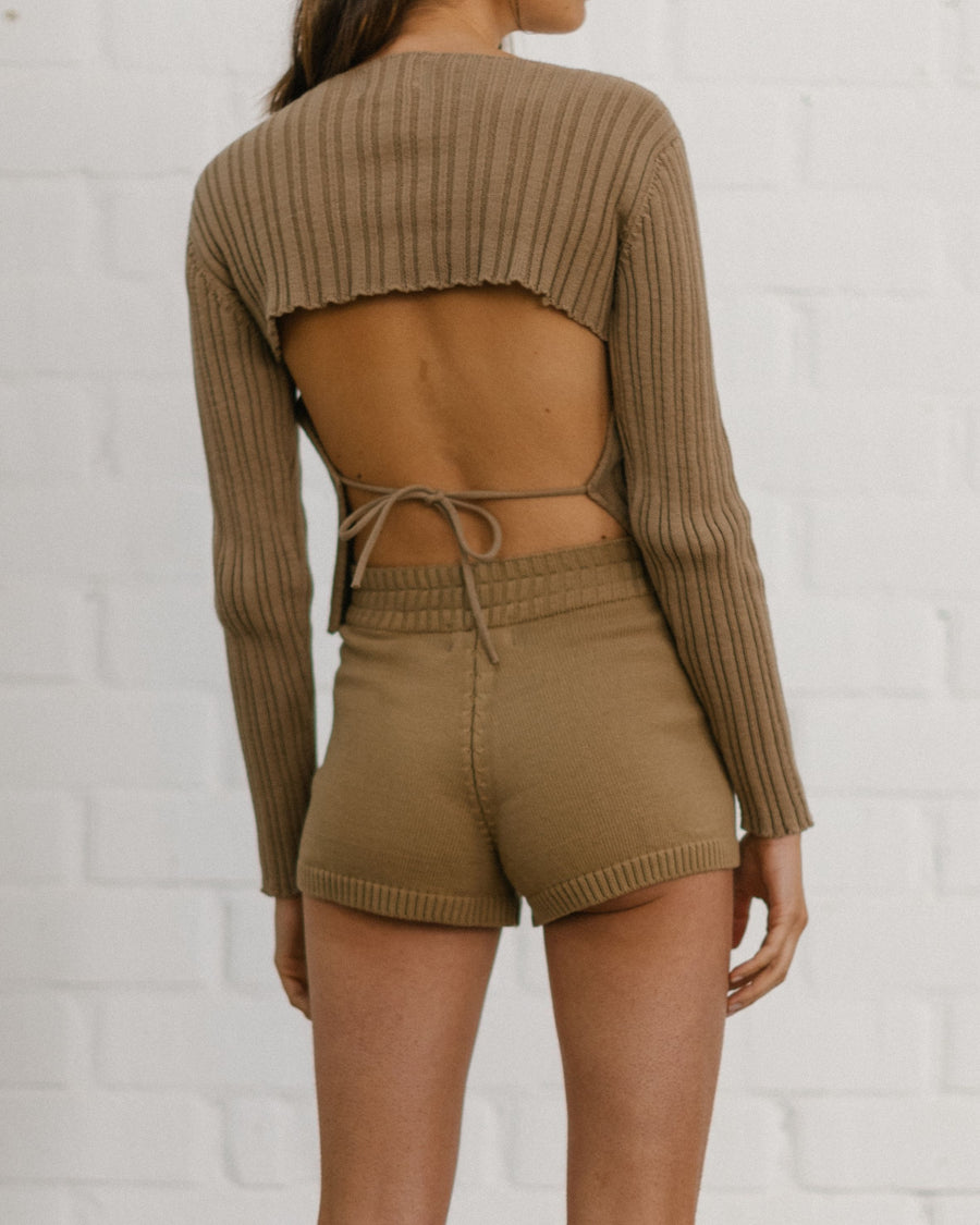 Honest Backless Knit Top Camel