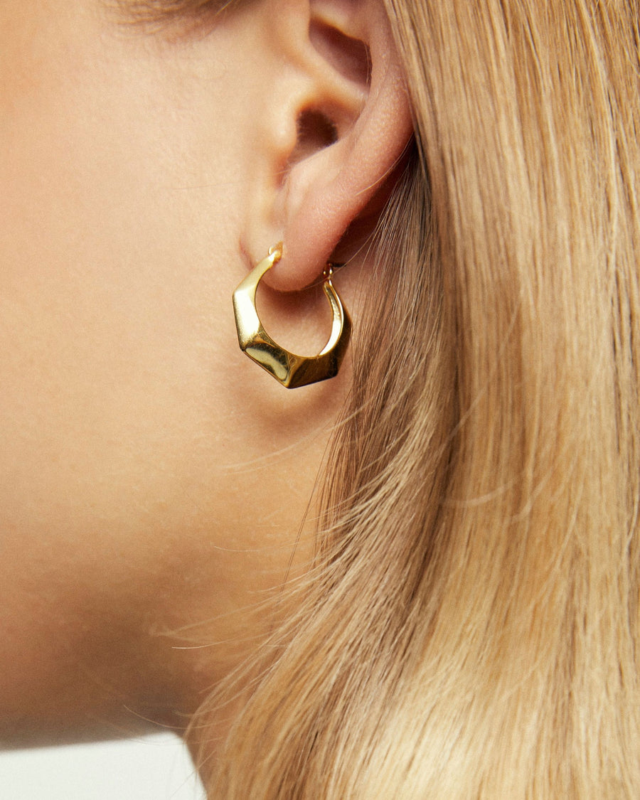 Hexagon Earrings Gold