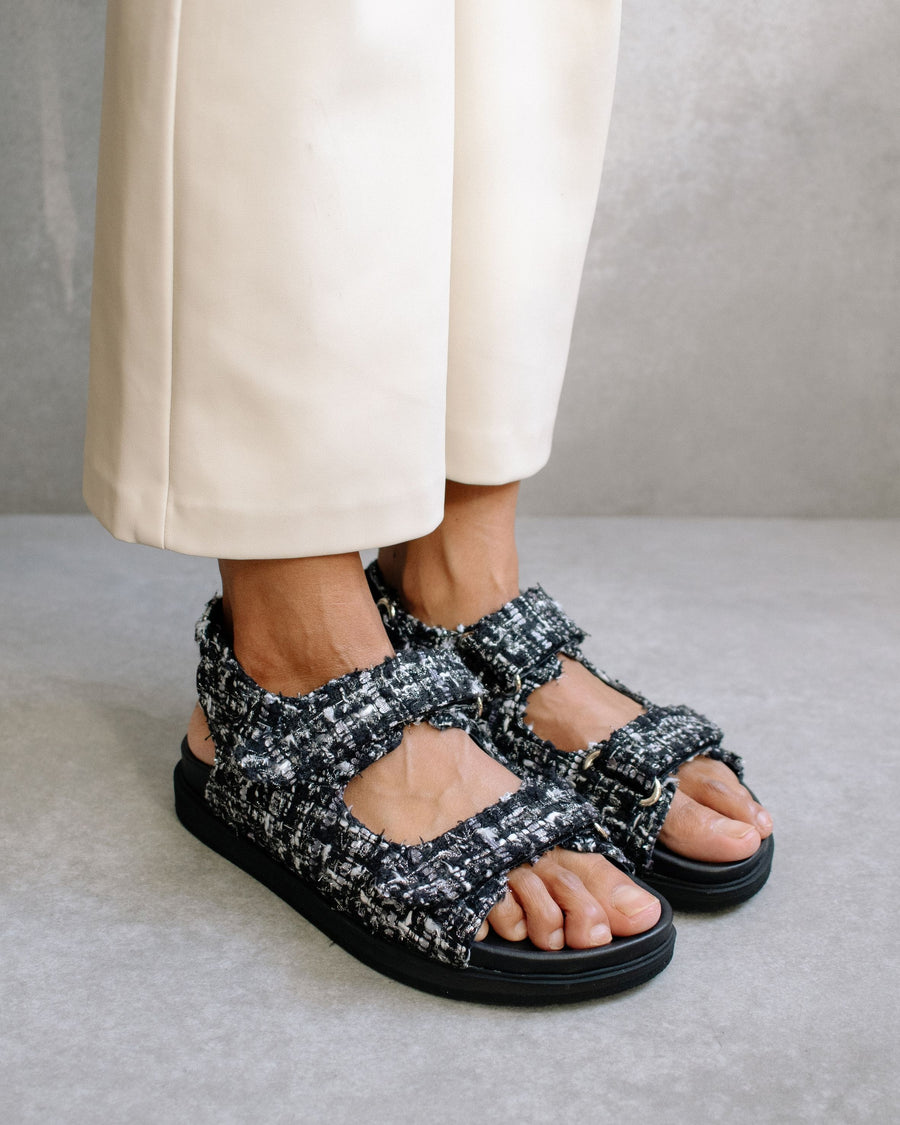 Hook-Loop Tweed Sandal