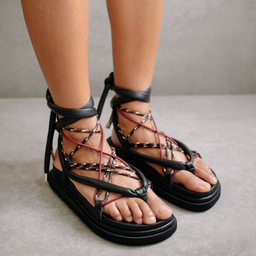 Jungle Black Laced Up Sandal