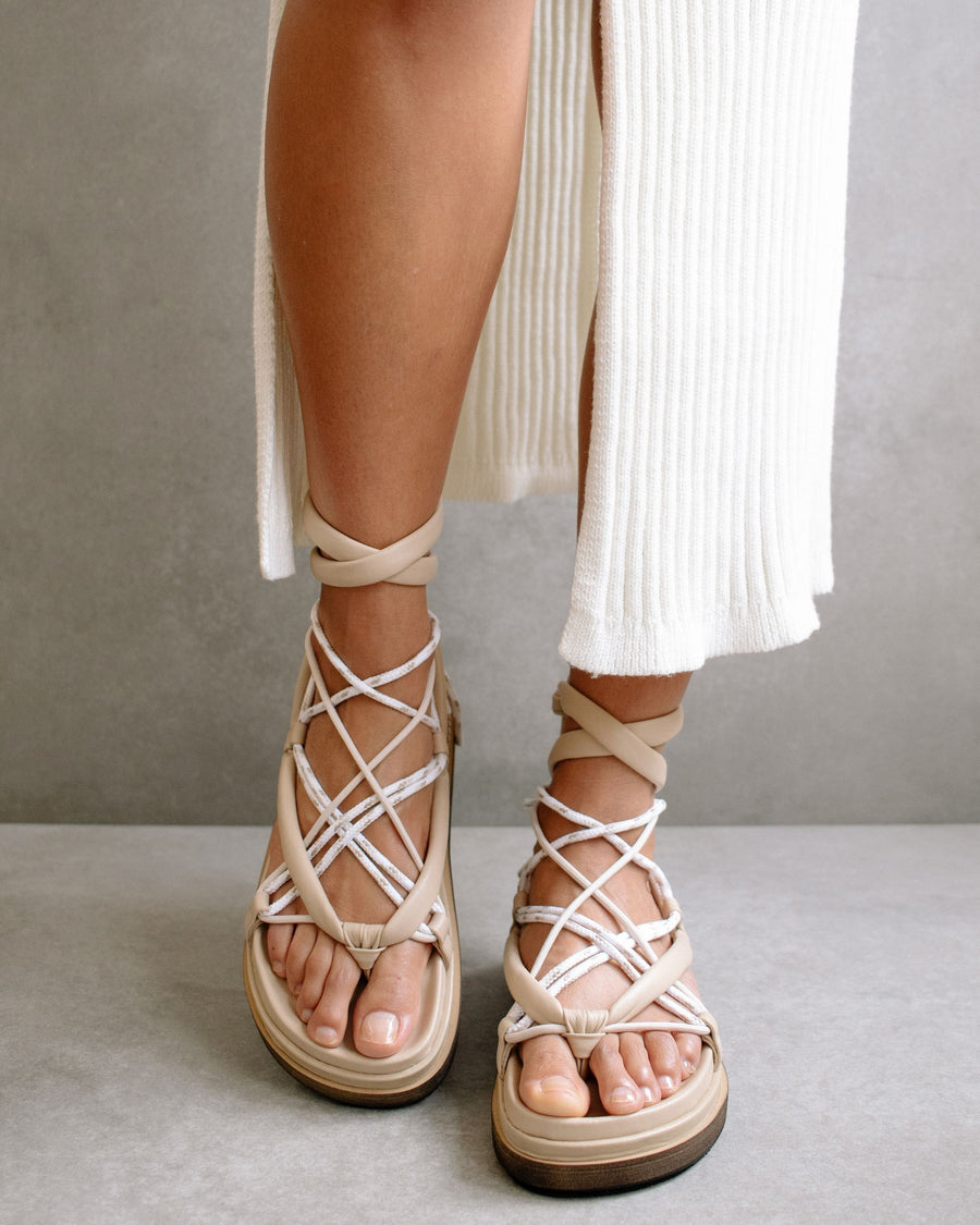 Jungle Stone & Beige Laced Up Sandal