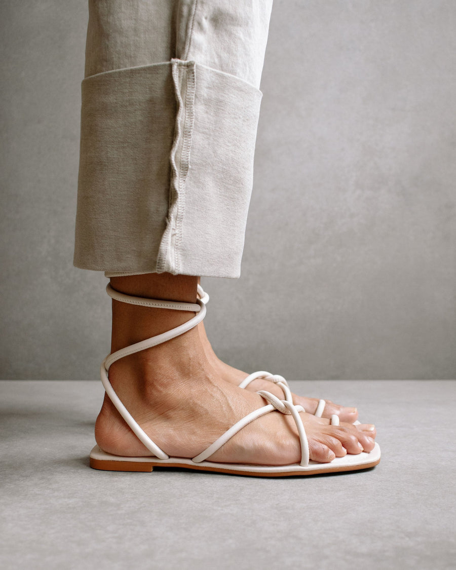 Lace It Up Ivory Flat Sandal