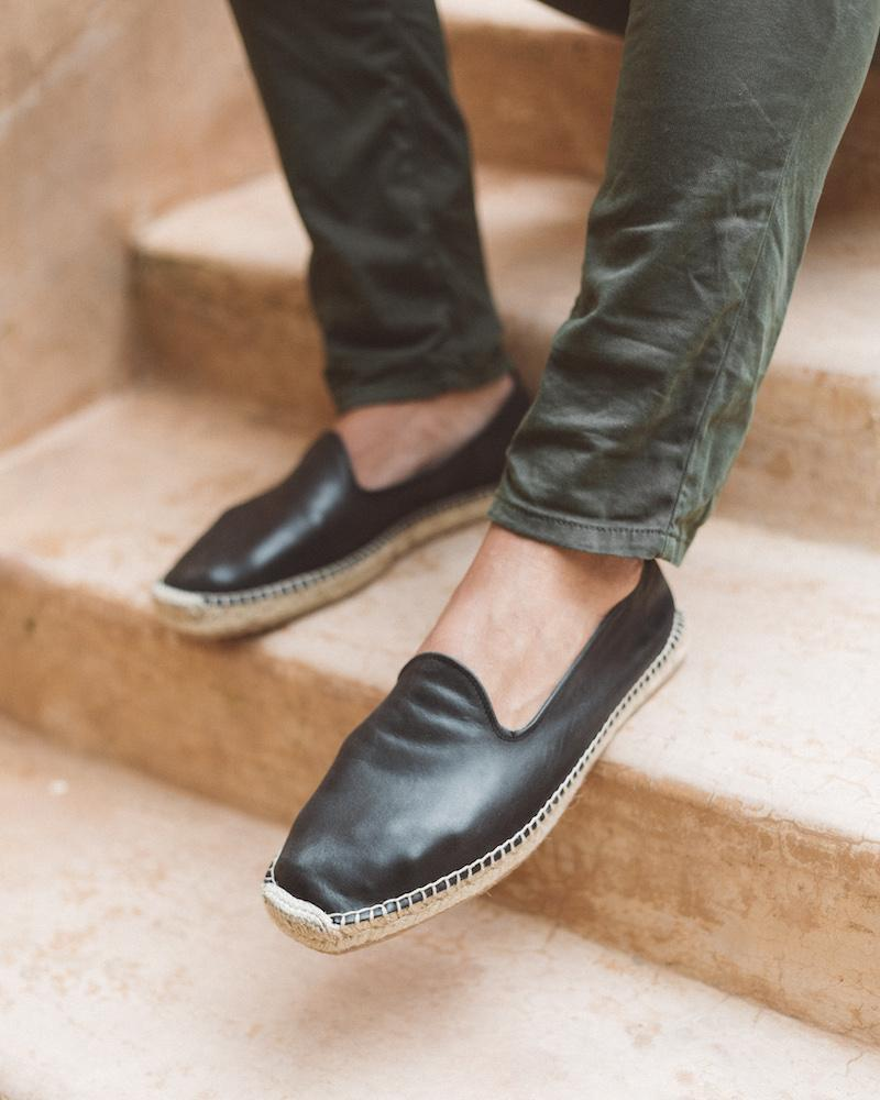 Men Espadrilles Leather Black