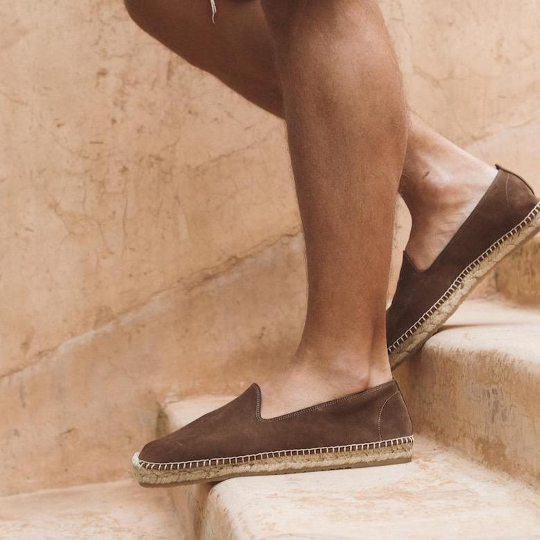 Men Espadrilles Suede Brown