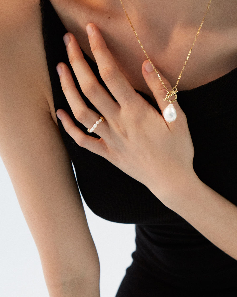 Pearl Chain Ring Gold