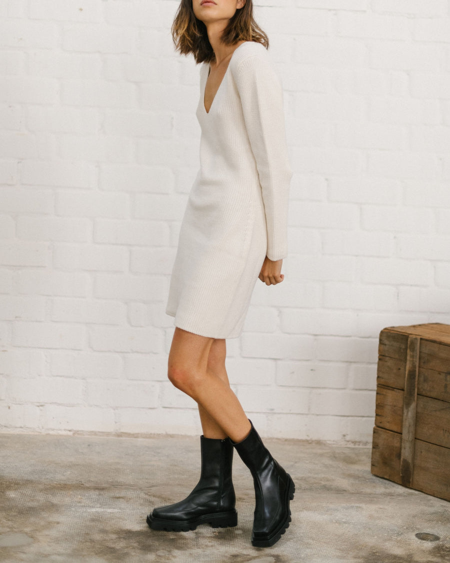 Playful Knit Dress Off White