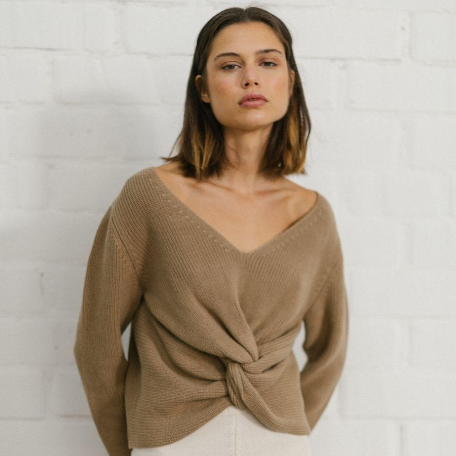 Polite Knot Knit Top Camel