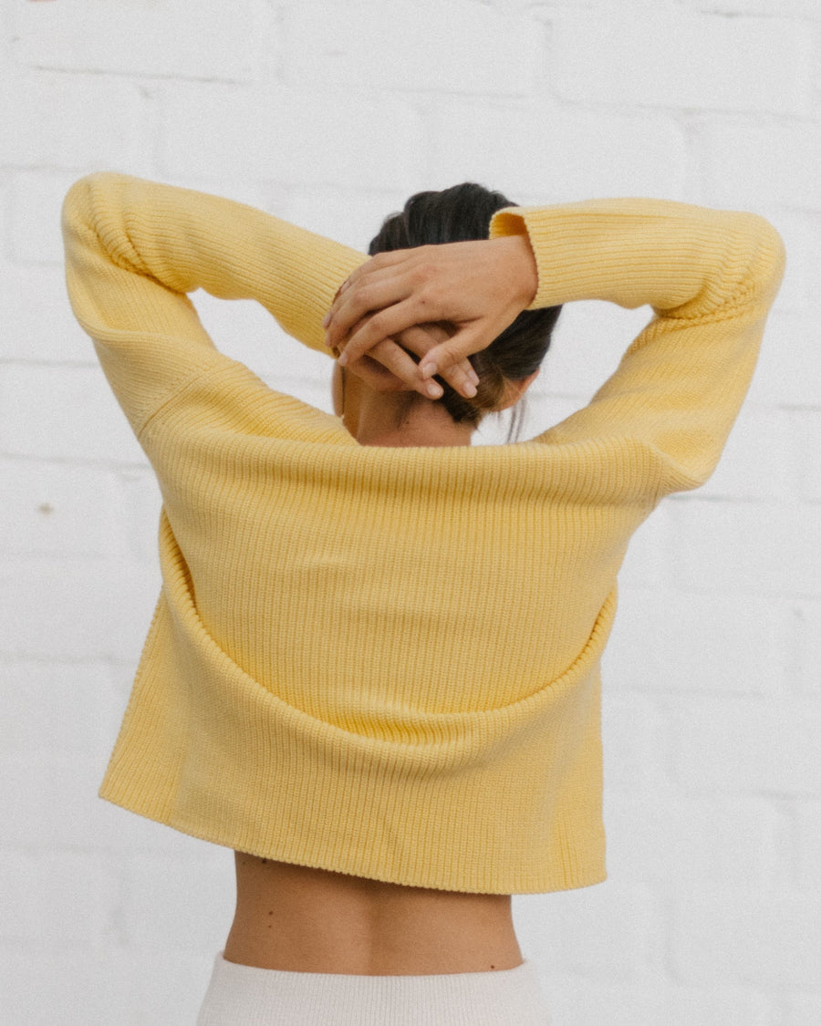 Polite Knot Knit Top Yellow