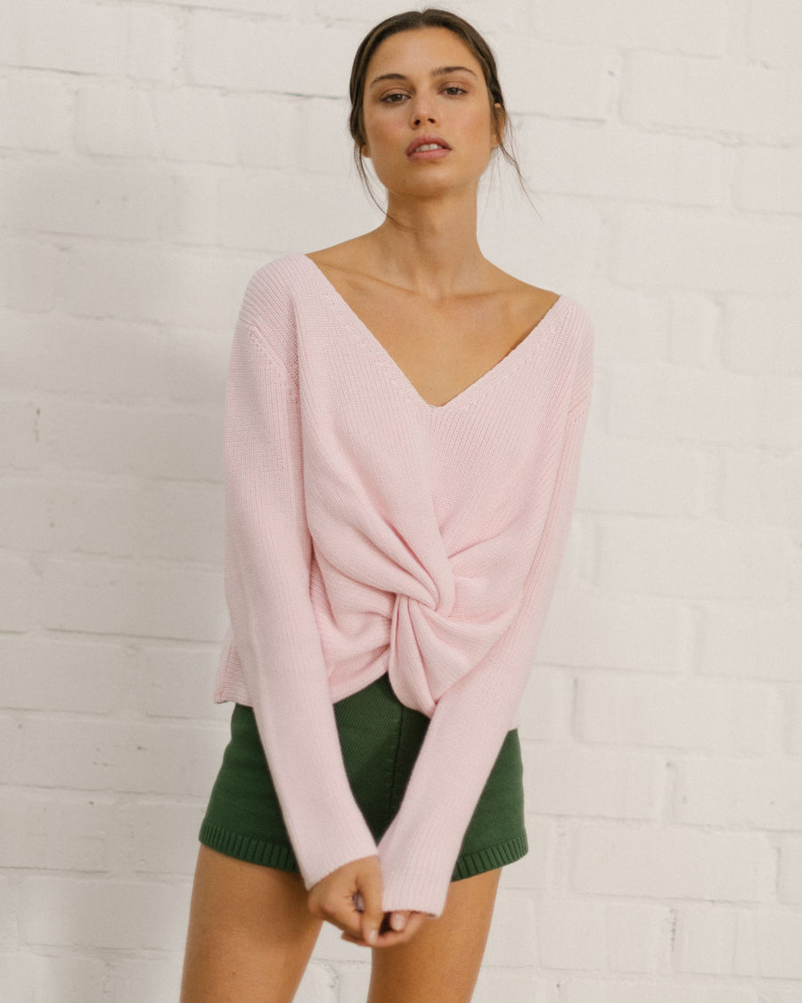 Polite Knot Knit Top Pale Pink