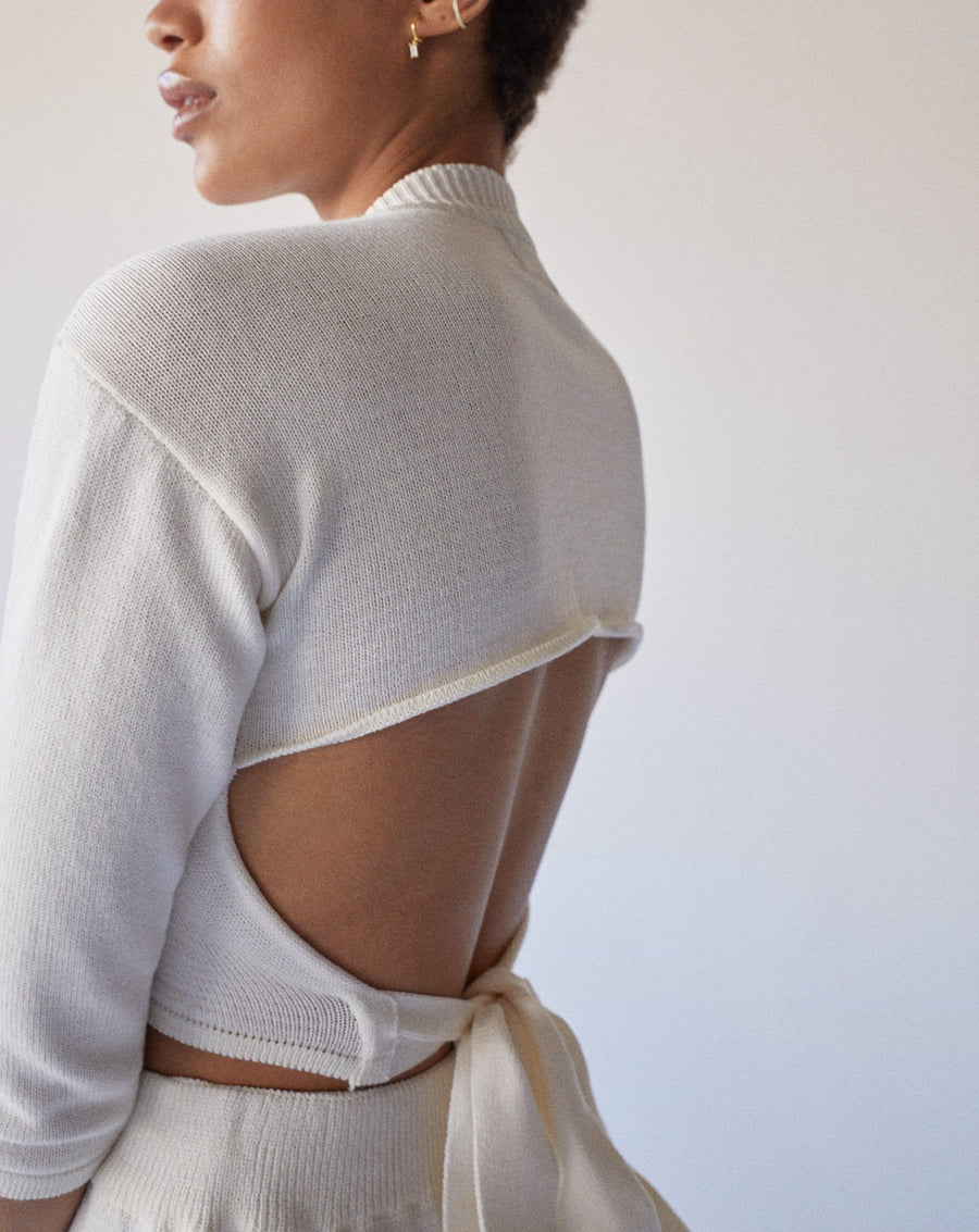 Relaxed Knit Backless Top Ivory