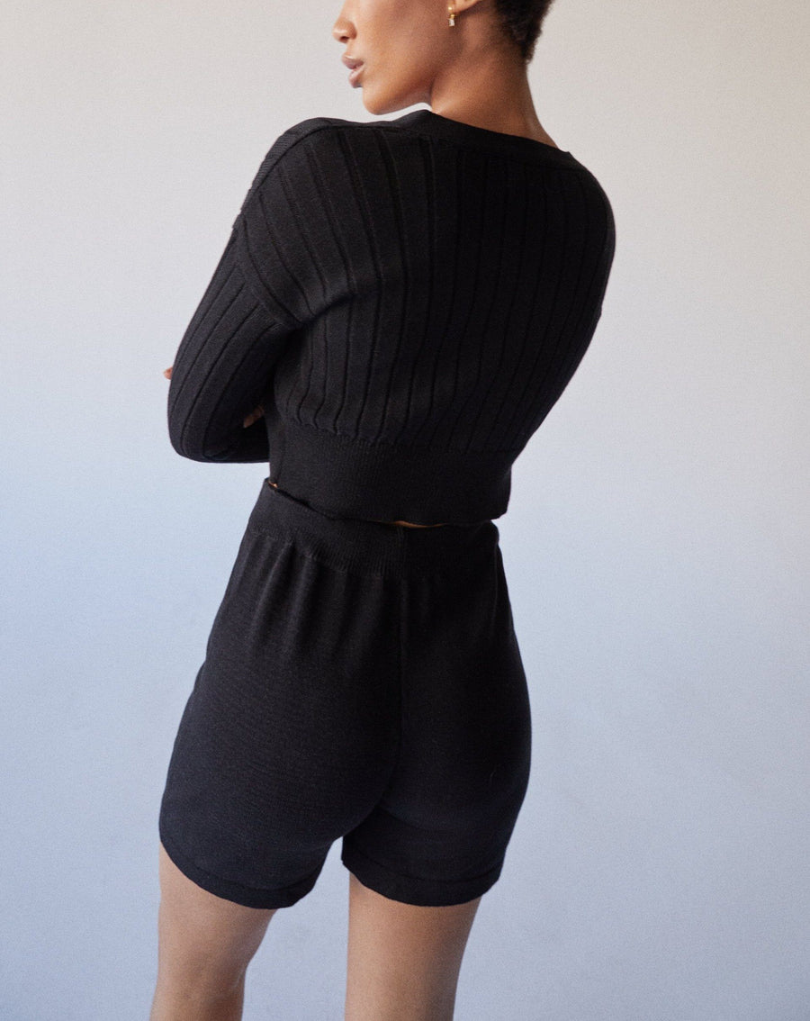 Roomy Knit Shorts Black