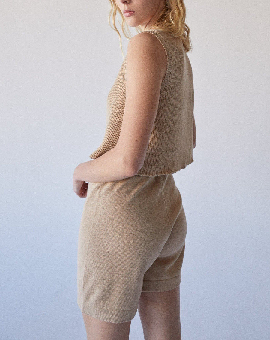 Roomy Knit Shorts Toasted Almond