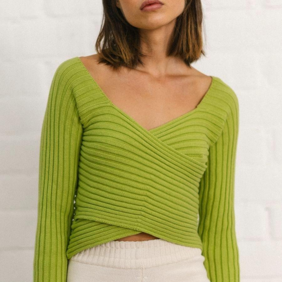 Smart Crossed Knit Top Lime Green