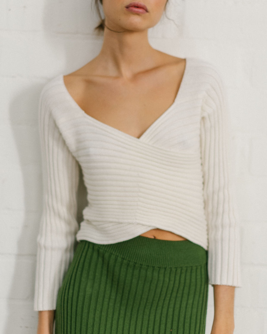Smart Crossed Knit Top Off White