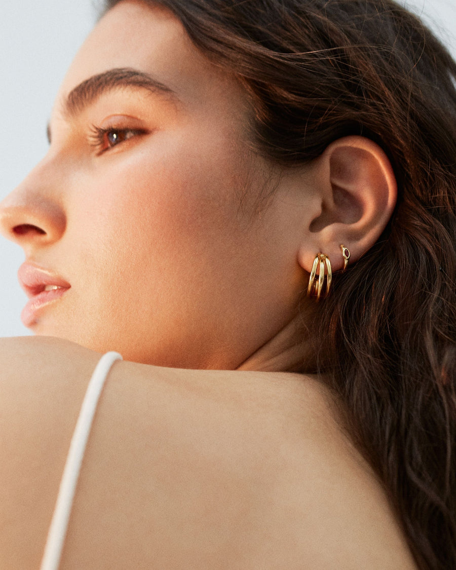 Trilogy Hoop Earrings Gold