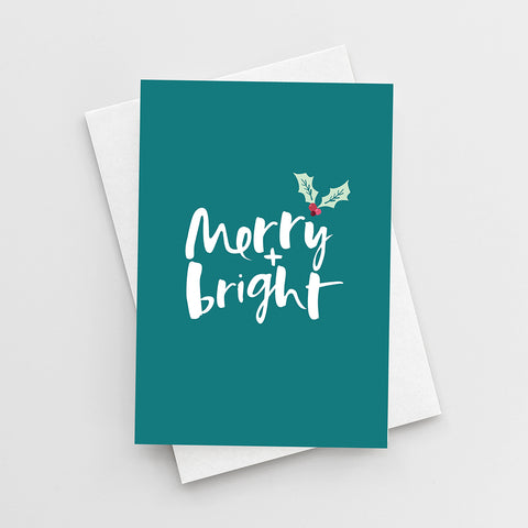 'Merry + Bright' Christmas Card