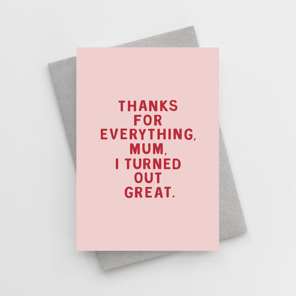 'Thanks For Everything, Mum' Mother's Day Card
