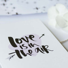 Love is in the Air Hand Lettered Wedding Greeting Card