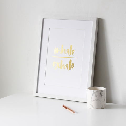 'Inhale/Exhale' Gold Foil Print
