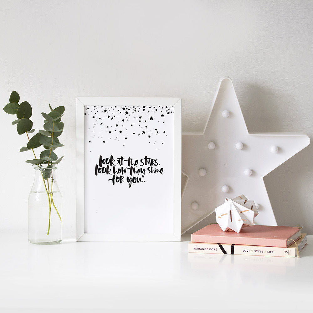 Look at the Stars Hand Lettered Print