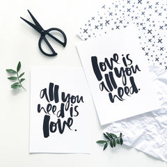 Love is all You Need Hand Lettered Print Set