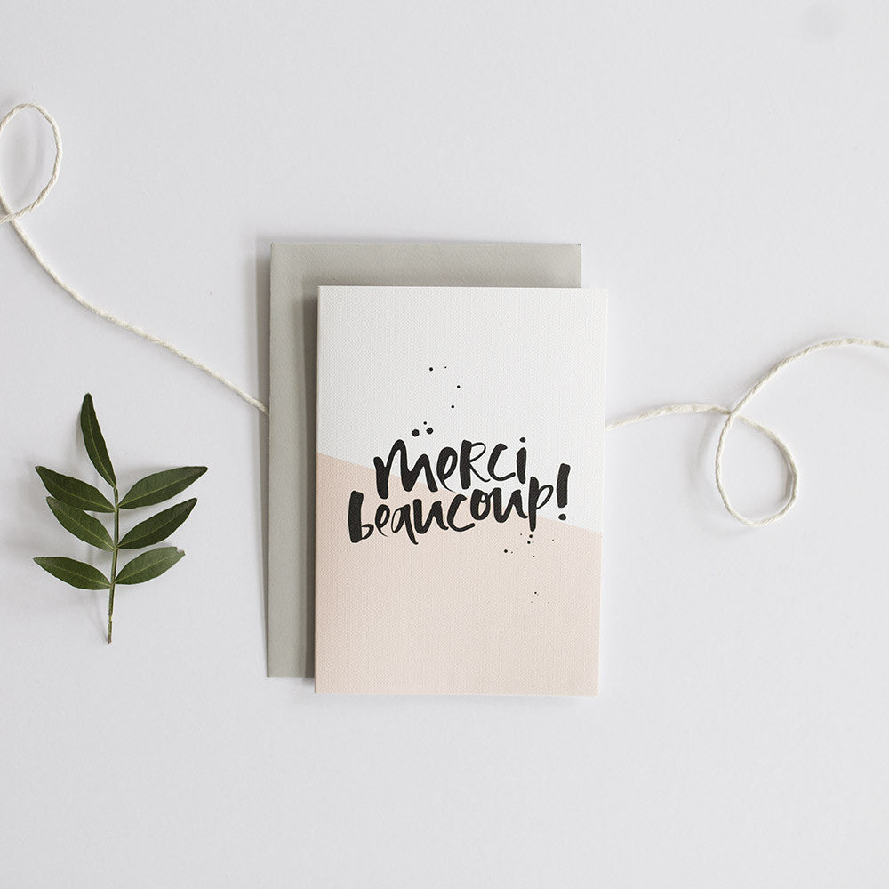 Merci Beaucoup Hand Lettered Greeting Card
