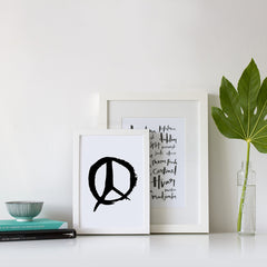 Hand Brushed Peace Print Framed