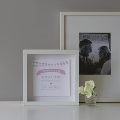 Classic Collection Personalised Wedding Box Frame Blush Front View