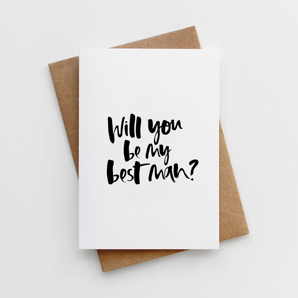 Will You Be My Best Man Hand Lettered Card
