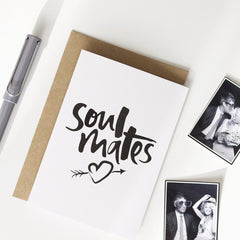 Soul Mates Hand Lettered Greeting Card