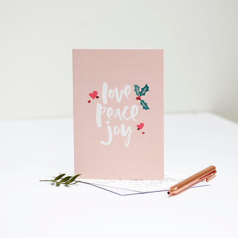 Joyful Christmas - 'Love Peace Joy' Card