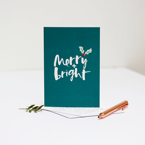 Joyful Christmas - 'Merry + Bright' Card