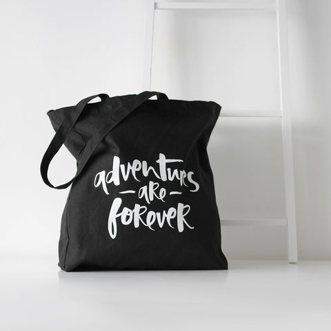 'Adventures Are Forever' Black Tote Bag