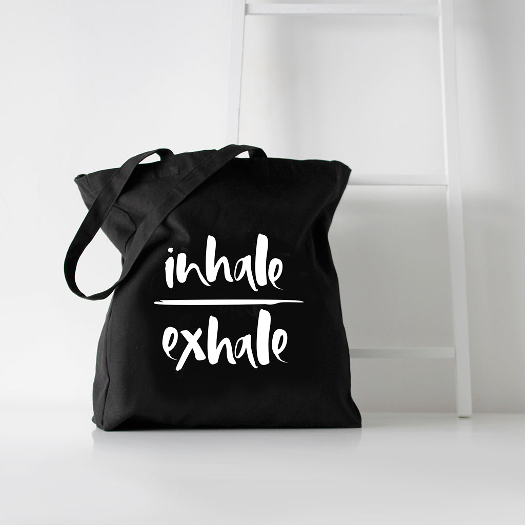 'Inhale/Exhale' Black Tote Bag