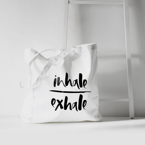 'Inhale/Exhale' White Tote Bag