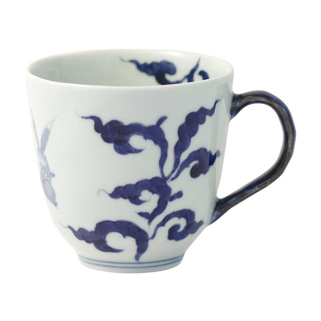 Mug 330ml, Dami-karakusa-usagi / Blue  | jpap.club – Japanese Tableware and Fine Gifts