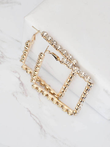 Rhomb Studded Hoops