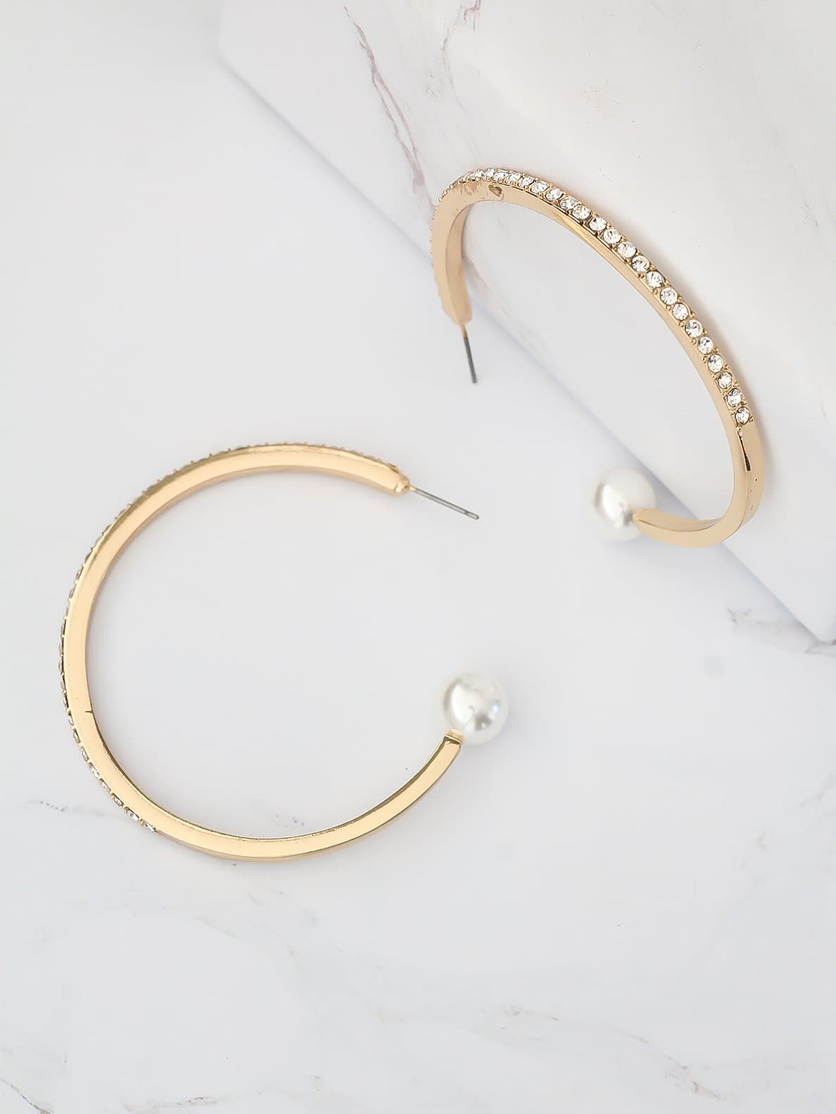 Bellofox Embellished Pearl Hoops Earrings BE3480