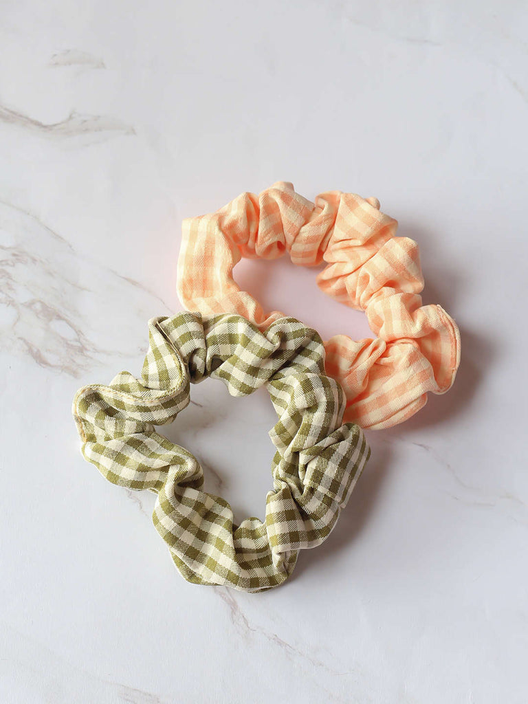 Bellofox Plaid Scrunchies - Set of 2 Hair Accessories