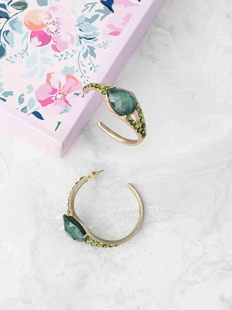 Bellofox Stone Half Hoops Earrings